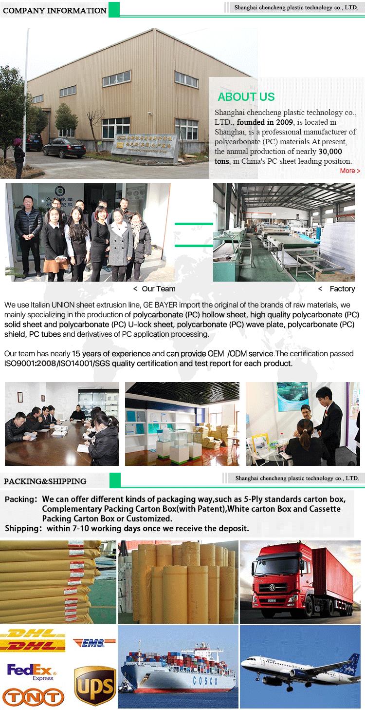 CC 공장 직접 합리적인 가격 UV 코팅 6mm 레드 트윈 벽 폴리 카보네이트 pc 중공 시트