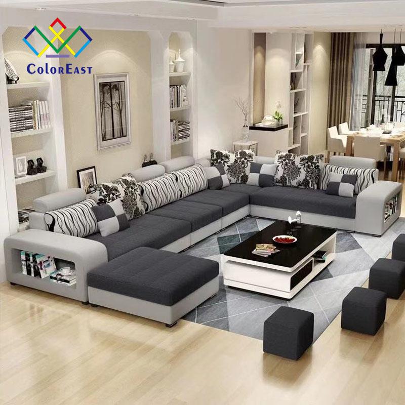 Sıcak satış batı tarzı kesit kumaş seti U şekli köşe kanepe CEFS002 oturma odası için