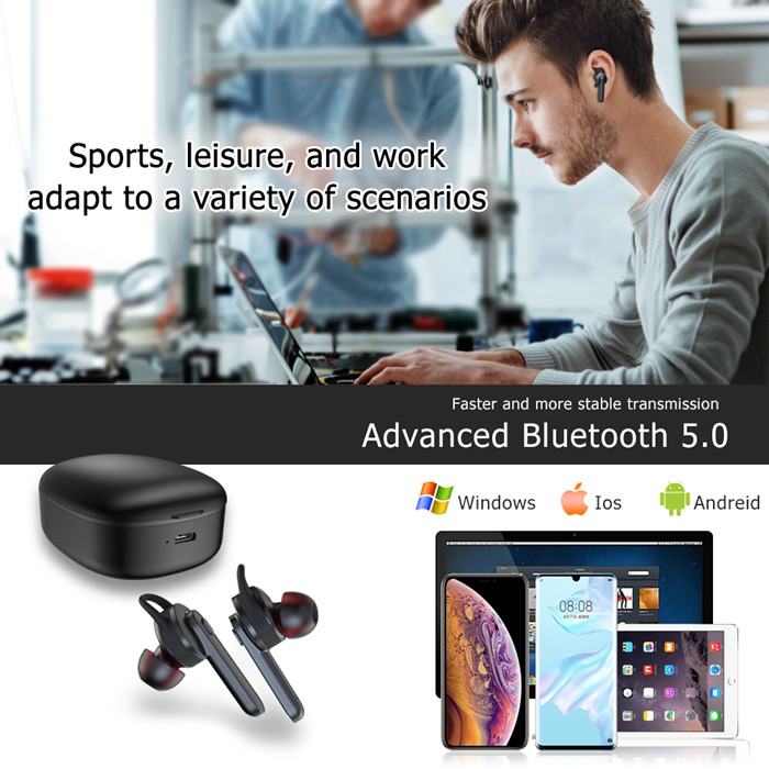 TWS True Wireless 5.0 Stereo Headphones mit 400mAh Charging box IPX 4 Noise Cancelling Deep Bass Earbuds für Sports