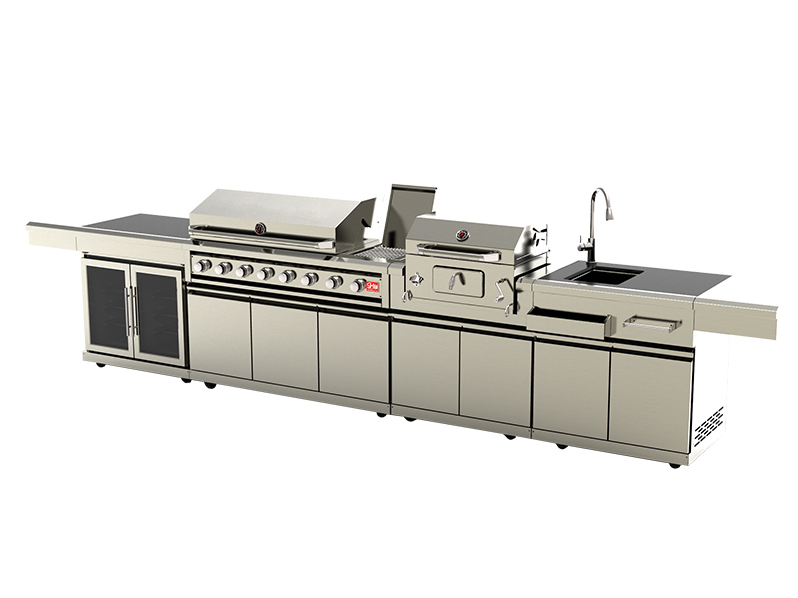 Moderna Modulare In Acciaio Inox Da Cucina Barbecue Isola/Outdoor Armadi Metallici/Metal Grill Barbecue All'aperto Cucina
