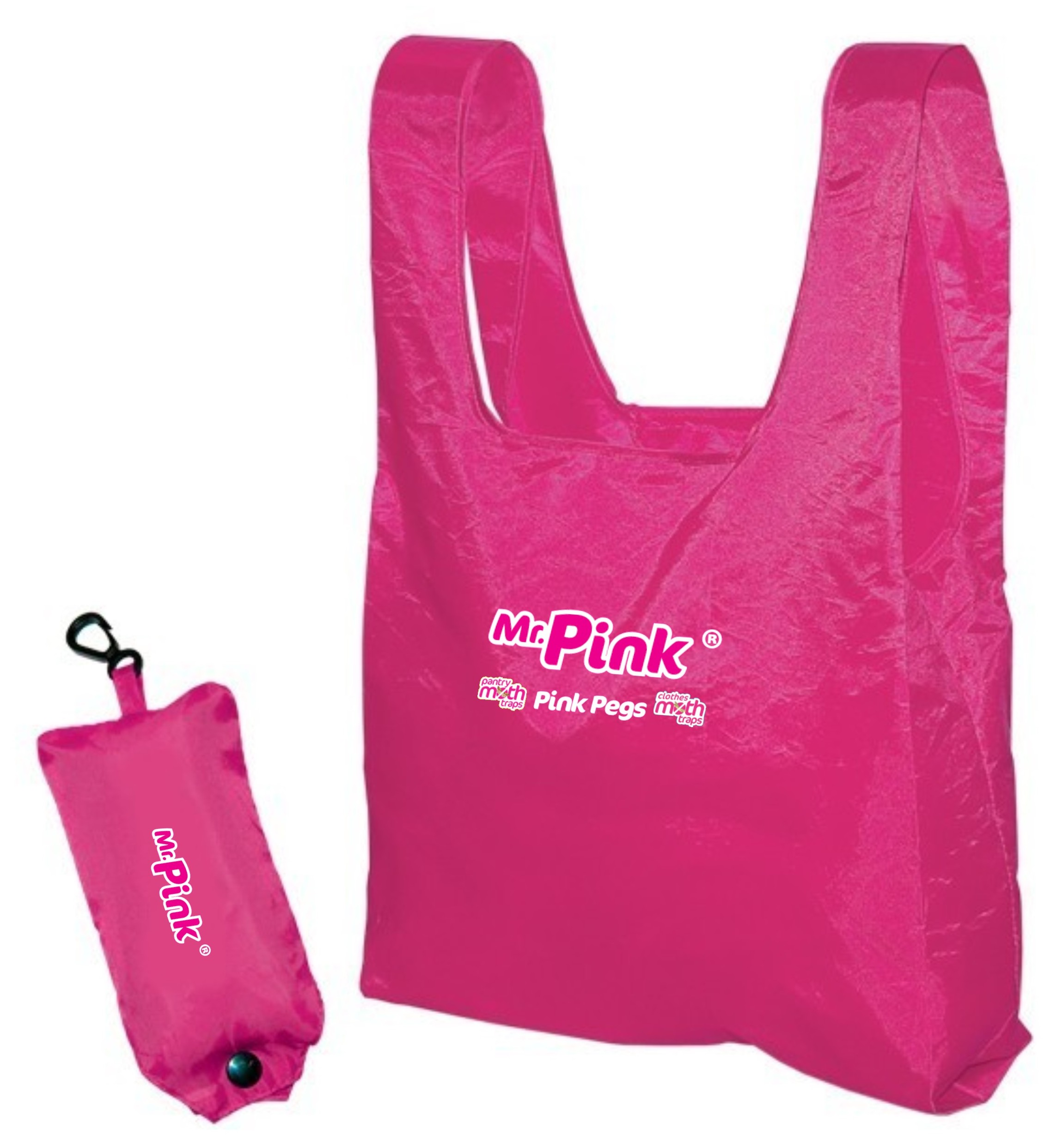 Hot Customized Promotional Pink Foldable Polyester Shopping Tote Bag In Small Pouch