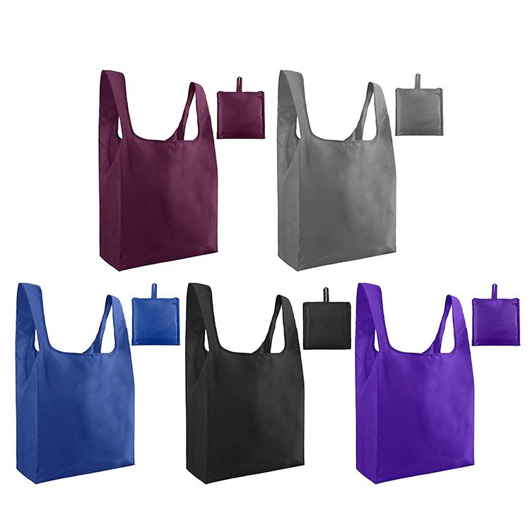 Commercio all'ingrosso logo personalizzato riutilizzabile in poliestere pieghevole shopping bag con manico