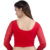 2020 Fashion Soft Deep Round Neck Stretchable Lace Sleeve Crop Top Red Saree Ladies Blouse