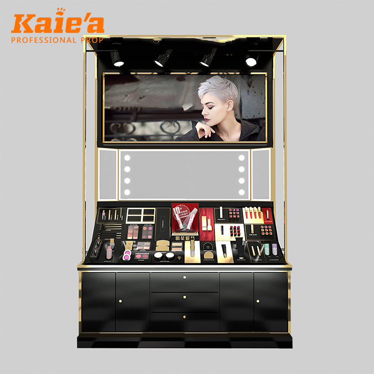 Factory retail customized counter MDF Acrylic cosmetic display stand silk logo makeup rack