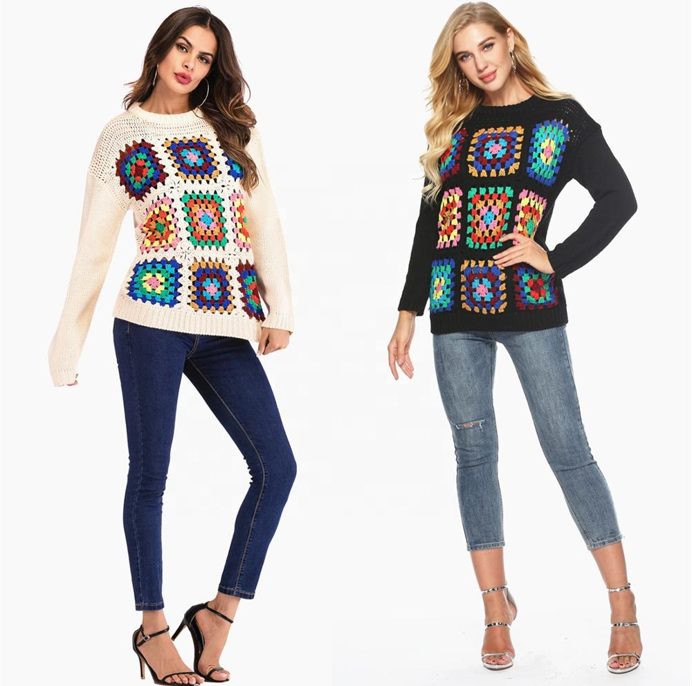 יד סריגה סוודר סוודר לבן הסרוגה למעלה נשים של גיאומטרי ארוך שרוול סוודר