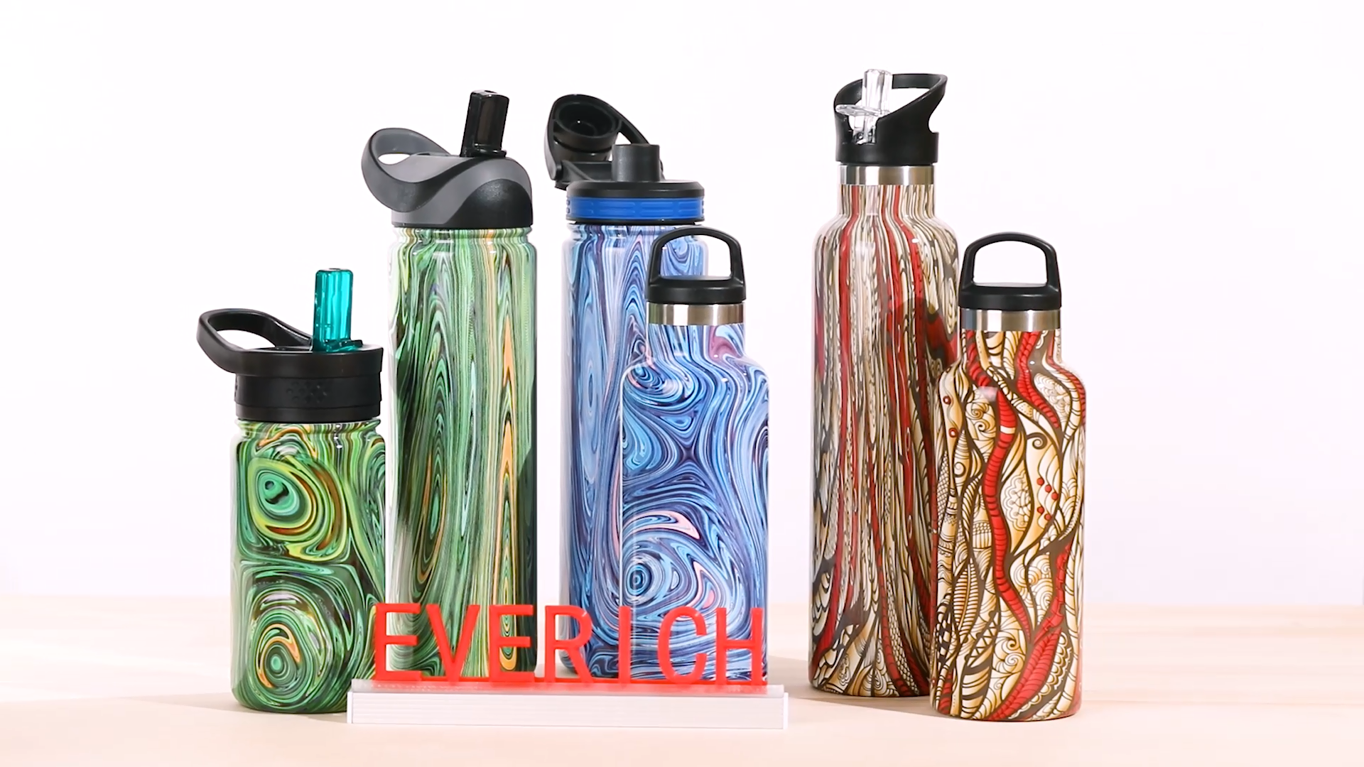 Everich OEM pattern water transfer printing double wall stainless steel bottle with straw lid