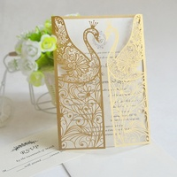 Paper Crafts Laser Cut Peacock Wedding Invitation Card