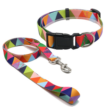 Printing Pattern Nylon Webbing Dog Collar Leash,Custom Nylon Dog Collar And Leash Set Supplies