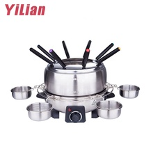 China Commerciële Elektrische Geborsteld Roestvrij Roestvrij Stalen Pot <span class=keywords><strong>Fondue</strong></span> Maker Ronde Raclette Appareil Chocolade <span class=keywords><strong>Fondue</strong></span> Grill <span class=keywords><strong>Set</strong></span>