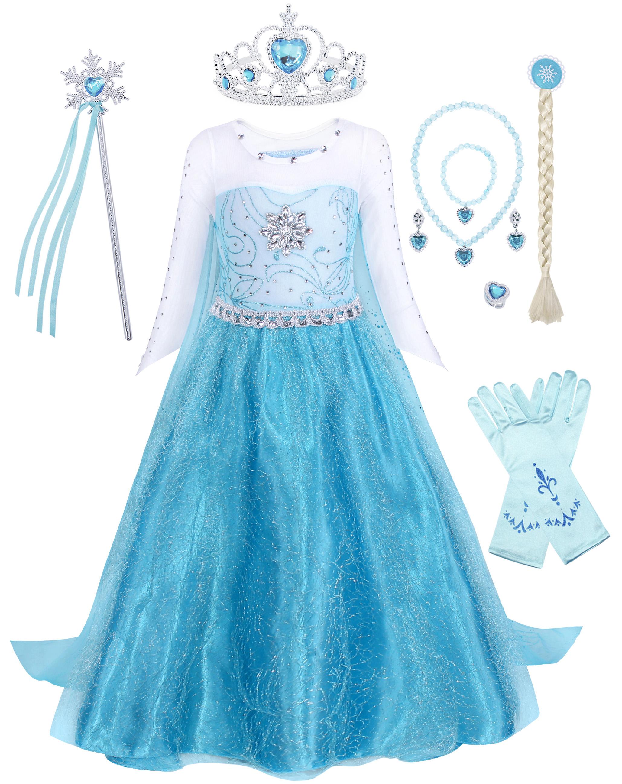Childrens Kids Girls Cute Princess Queen Elsa Winter Halloween Costume Dress
