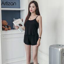 Женская пижама на бретельках без рукавов, летний топ + шорты, комплект одежды для сна(Китай)