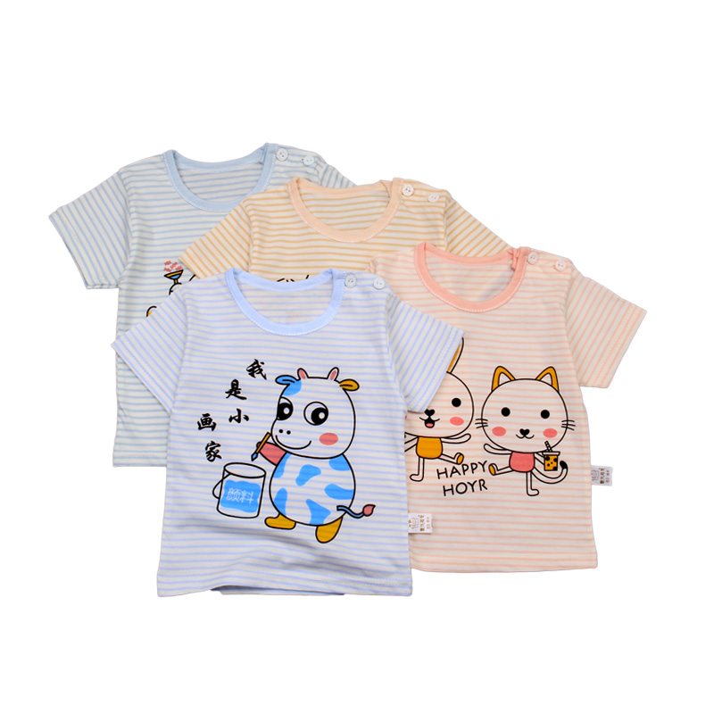 Spring and summer 2020 baby 100% cotton children's 0-3 year old cartoon o-neck short sleeve top