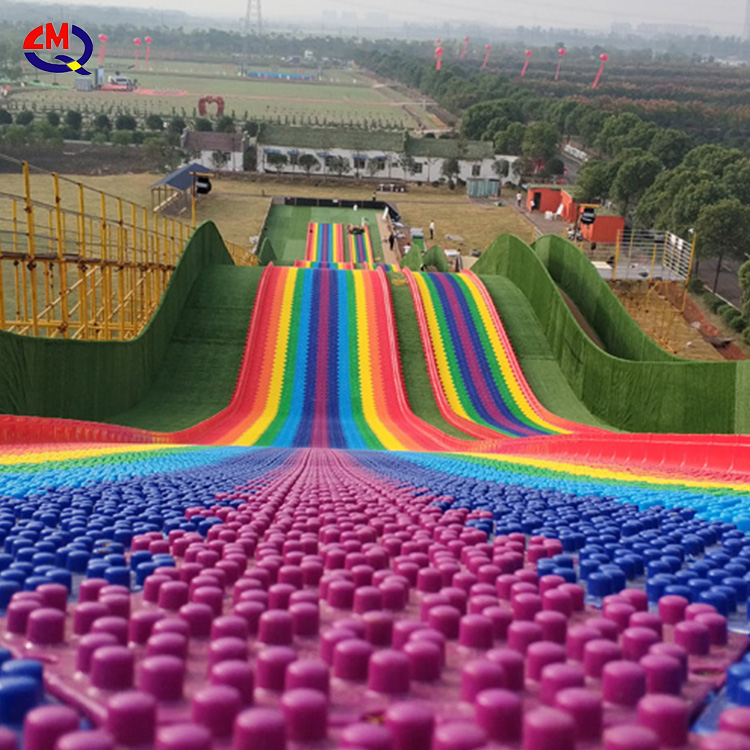Funny outdoor playground family games colorful artificial amusement rides dry rainbow slide for sale