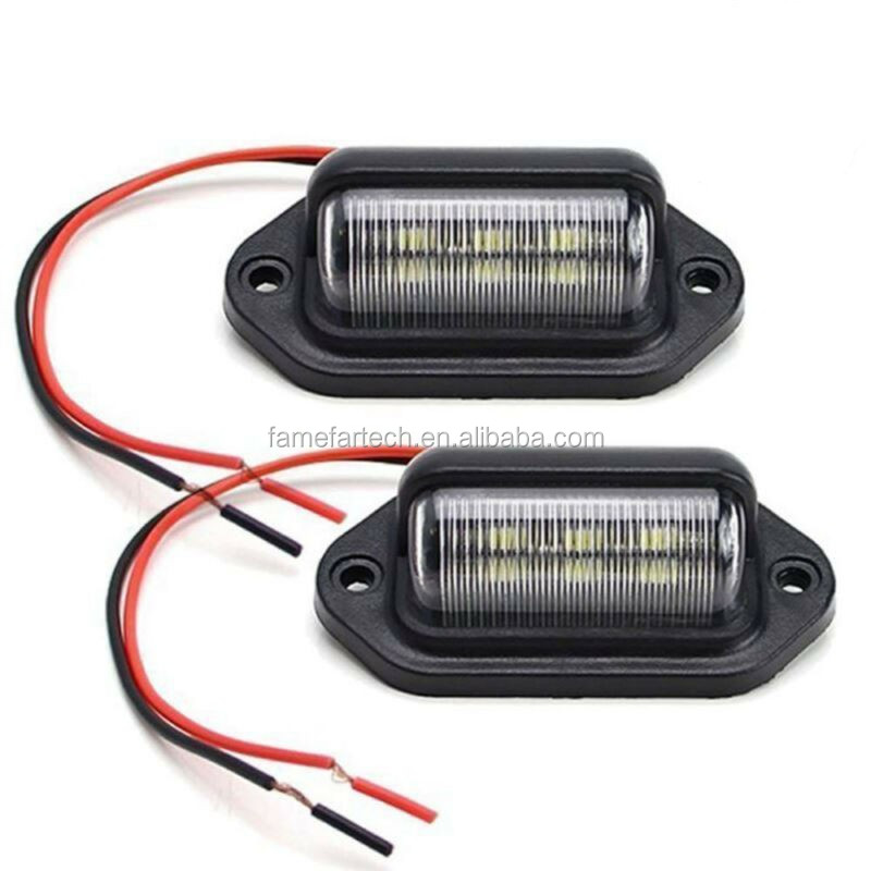 For Car Lamp License plate lights Truck Trailer Waterproof IP65 6 LED Bulb 66*33*25MM 10-30V Replacement Auto Accessories