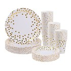 Hot Rose Gold dots Party Tableware Cutlery Disposable Napkins Plates and Cups