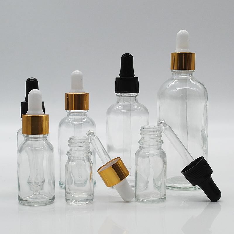 5ml ml 30 15ml 50ml fábrica 100ml garrafa vazia de óleo essencial de vidro transparente com conta-gotas de alumínio cap