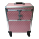 OEM aluminum beauty pink empty compact train rolling professional trolley wheels cosmetic make up boxes organizer makeup case
