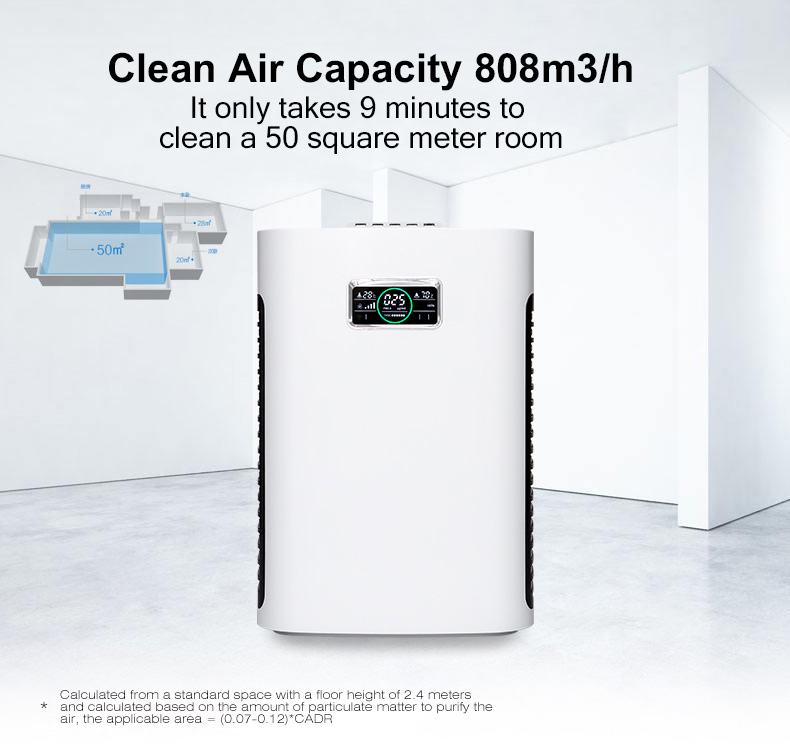 HEPA Negative ion air purifier removes formaldehyde second-hand smoke in new homes bedrooms and offices