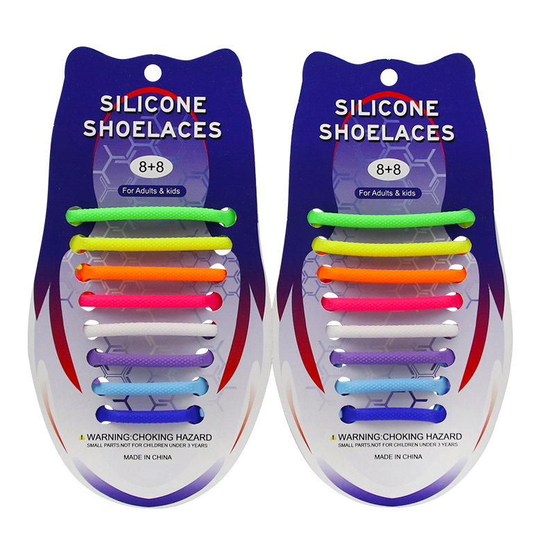 Wholesale Eco-friendly Colorful Elastic Lazy Silicone No Tie Unisex Shoelaces for Promotion Gifts