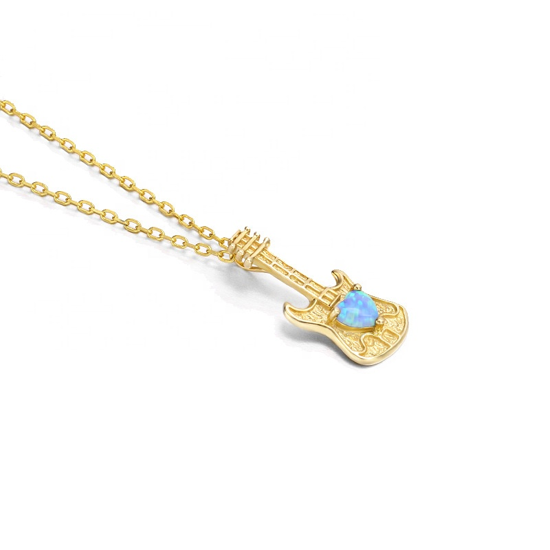 9K Gold <strong>Natural</strong> Artificial Blue Opal Guitar <strong>Pendant</strong>