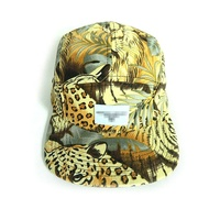High quality canvas all over digital printed logo flat brim 5 panel cap with woven label