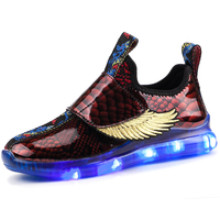 2020 New Design Bright LED Light Shoes Wings Children Shoes Kids Sneaker for boy and girl