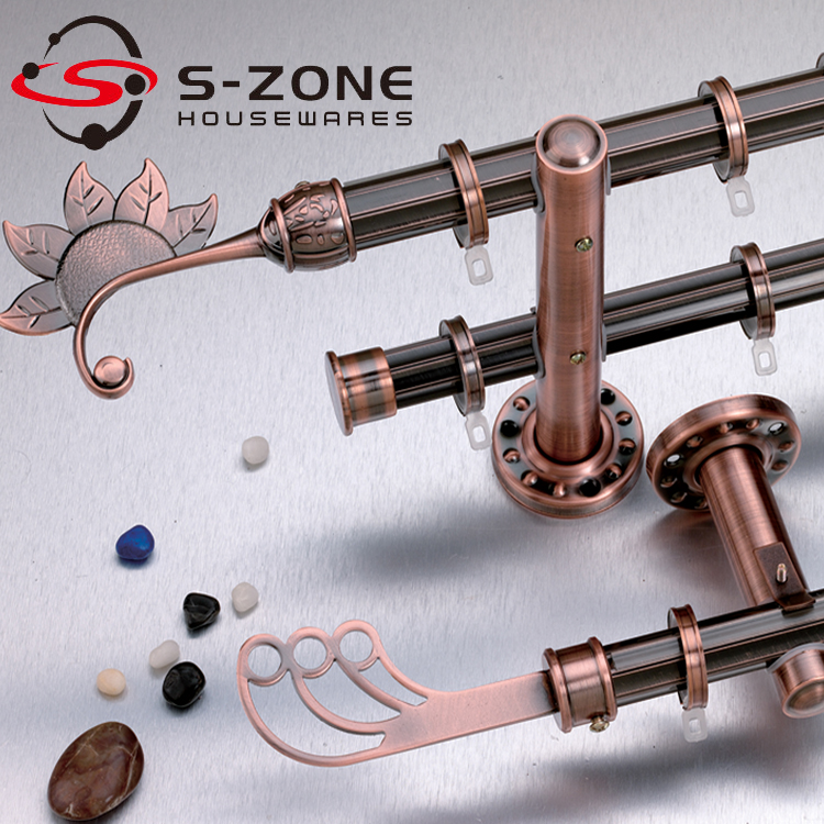 Szone bay windows antique brass double curtain rod for curtain