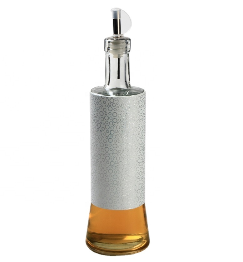 10oz 300ml स्टेनलेस स्टील सिरका खाना पकाने के तेल कंटेनर रसोई मशीन बोतल ग्लास मसालों जार