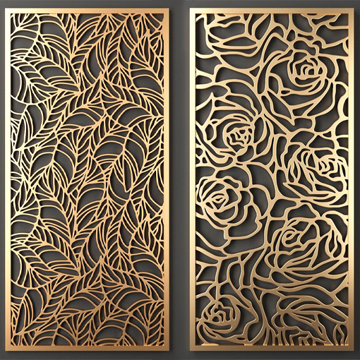 Luxury Golden Partition Wall Panel Laser Cut Metal <strong>Screen</strong>