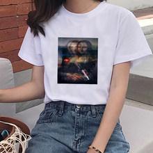 Забавная мягкая одежда Mona Lisa для девочек с эстетическим аниме летняя одежда для женщин Хиппи белый топ летний топ уличная одежда женская ле...(China)
