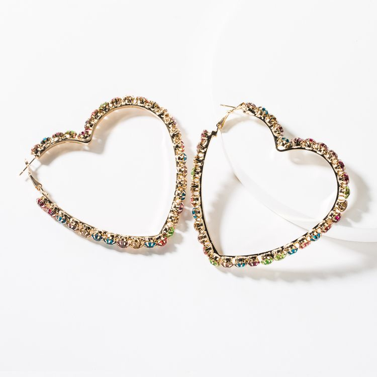 Fashion Women Jewelry Gold Plated Brass Crystal Rhinestone Earrings Exaggerated Hoop Heart Earring