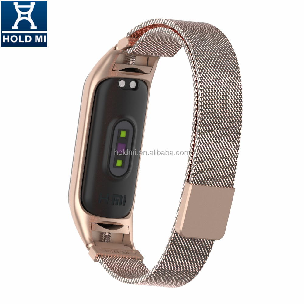 Customized holdmi 43036 series bronze gold color mi band 4 milanese wrist watch belt for mi bands