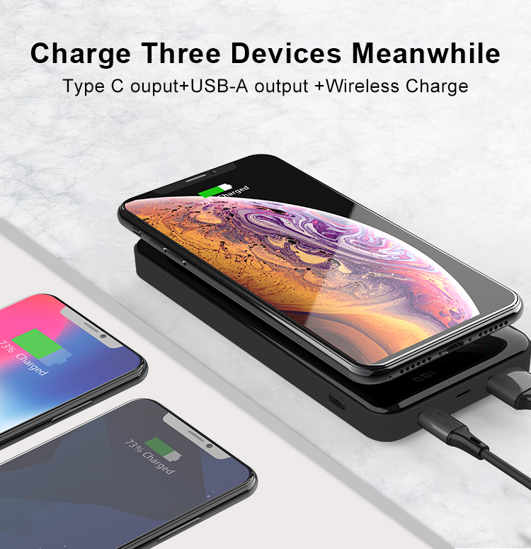 private portable mobile Type C PD fast chaiging digital display power banks