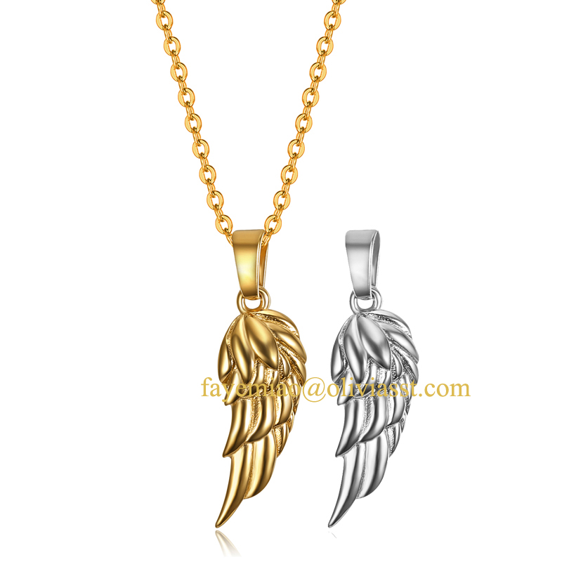 New arrival wing necklaces delicate angel wing charm women men stainless steel silver gold memory wing necklace memorial gifts