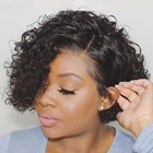 Brazilian Human Hair Water Wave Pixie Cut Short Full Lace Braided Wig For Black Women