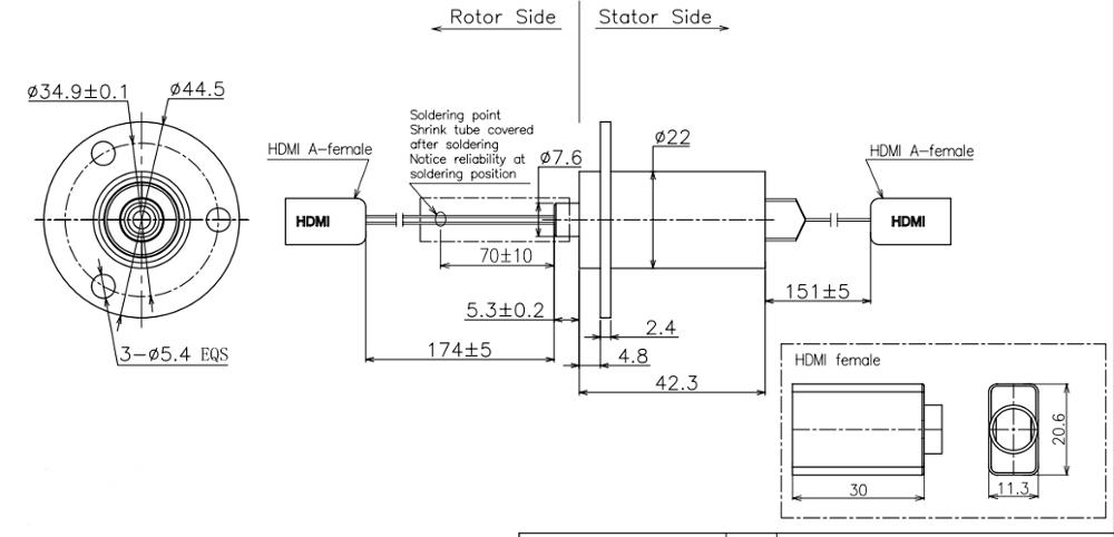 High Definition Capsule Slip Ring Transmitting HDMI For 4K TV / Camera Pan Tilt
