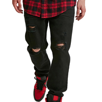 100% Cotton Black Ripped Denim Jeans Pants For Men
