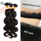 Wholesale Virgin Brazilian Cuticle Aligned Hair Swiss Transparent HD Frontal Lace With Bundles