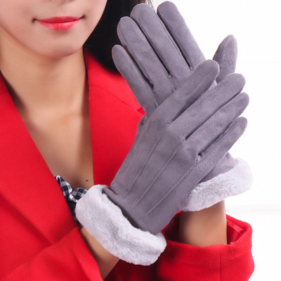 E198 Fashion Leather Gloves Winter Warm Outdoor Sports Fur Suede Gloves Women Cute Riding Cycling Thick Touch Scree Suede Gloves