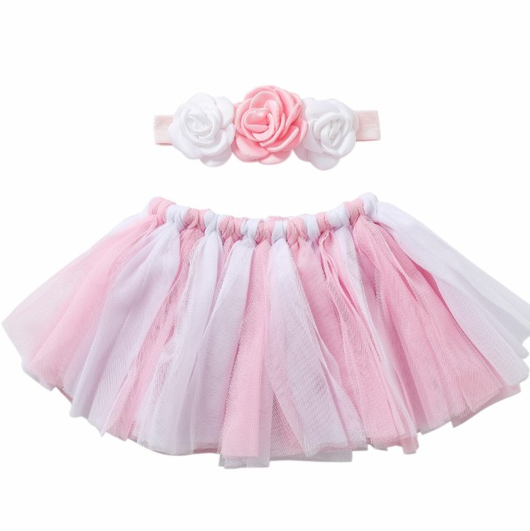 Baby girls pink tutus puffy tutu dress and headband set