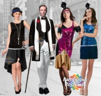 Adult Male and Female 1920's Vintage Gatsby Flapper fancy dress, carnival costumes and cosplay.