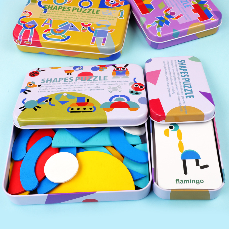 High Quality Iron Box Package Montessori Educational Toy Geometric Shapes Colorful Wooden Puzzles Set for Kids