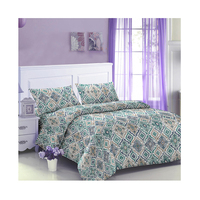 Four piece set of geometric design bedding sheets and quilt cover