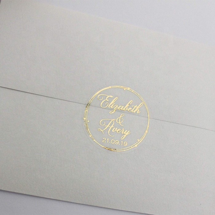 custom envelope hot stamping round seal stickers gold foil circle clear metallic adhesive labels for weddings invitation