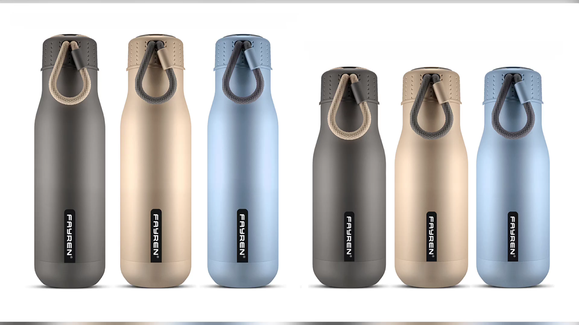 2020 FAYREN durevole di alta qualità su misura stampato bottiglie di acqua in acciaio inox con manico
