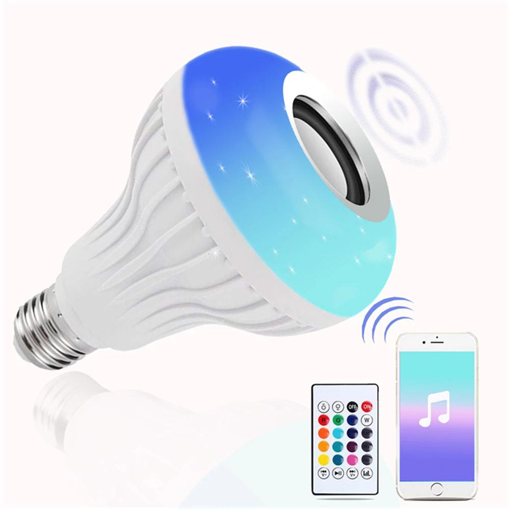 smart E27 RGB white Bluetooth speaker LED light bulb adjustable music light wireless LED light remote control birthday gift