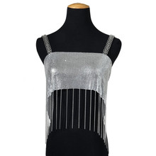 Brillant En Métal Maille Crop <span class=keywords><strong>Top</strong></span> Gland Nuit Club Fête Festival de Musique <span class=keywords><strong>Rave</strong></span> Débardeur Streetwear