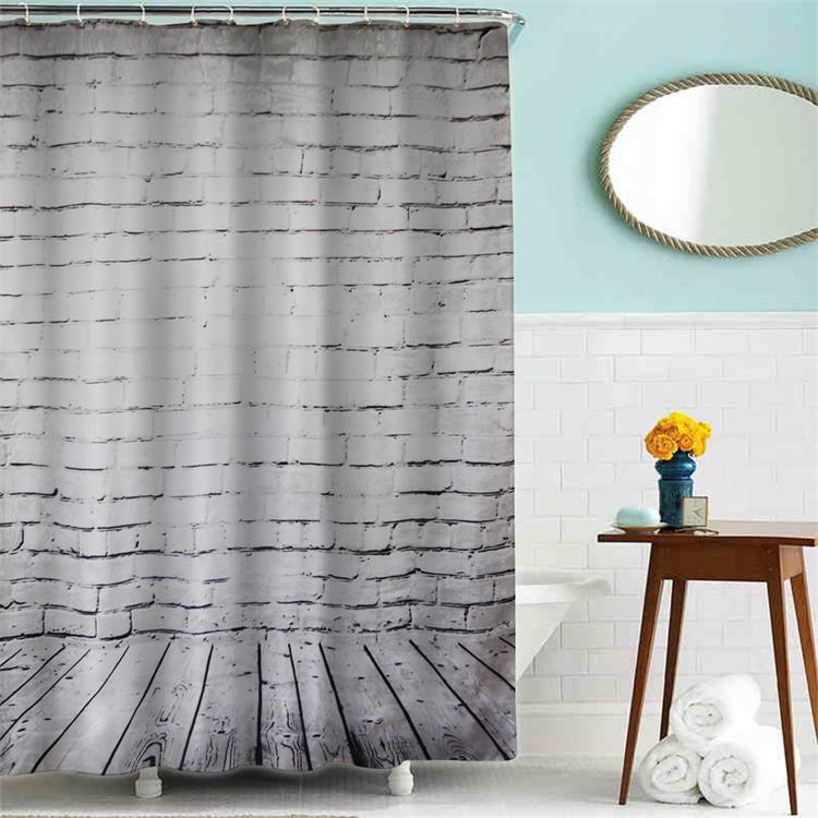 White simple art and marble patterns polyester shower curtain with rings
