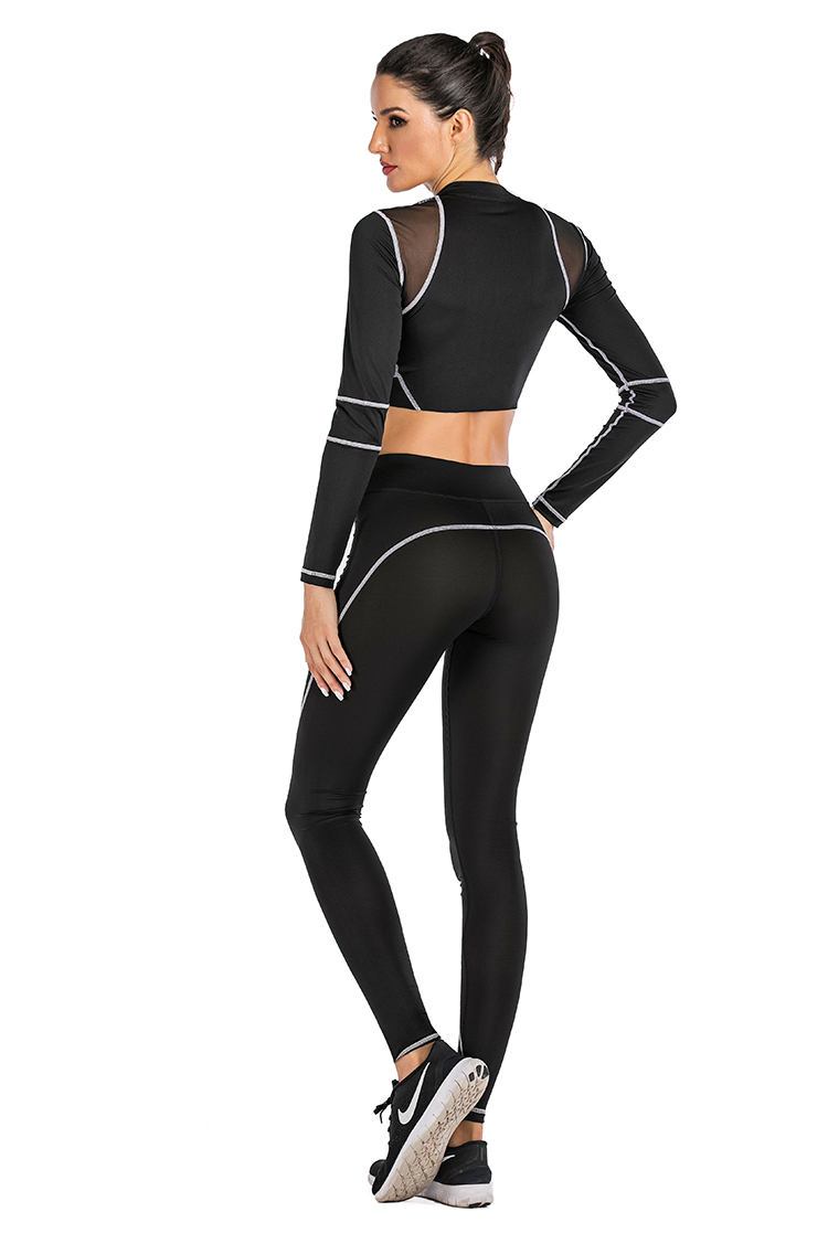 Fitness active wear sportswear workout gym women black long sleeve mesh top and yoga leggings set