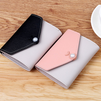 Hot sale Wallet women's short wallet Korean color contrast simple personalized hand holding Mini zero wallet small holder bags